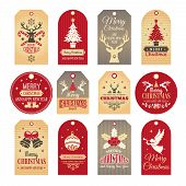Christmas Labels. Holiday Tags And Badges With Funny Winter New Year Elements And Vector Snow Illust poster