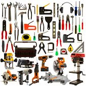 picture of carpentry  - Tool collage isolated on a white background depicting carpentry and construction tools - JPG