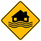 Flood Disaster Yellow Sign