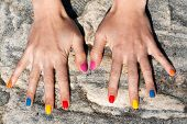 Two Female Hand With The Fashionable Color Nail Polish
