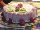 stock photo of marquise  - close up of cheese cake with strawberries - JPG