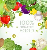 Vegetarian vegetable 100% organic food background