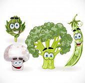 Funny cute vegetables smiles - mushroom, peas, broccoli, artichoke