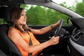 image of seatbelt  - Pregnant Woman Driving a Car Through the Woods - JPG