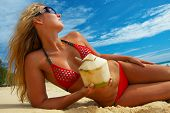 Tanned Girl With Coconut