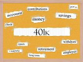 picture of pegboard  - 401k Corkboard Word Concept with great terms such as account retirement savings money and more - JPG