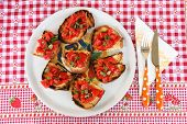italian bruschetta  with tomato, garlic and basil
