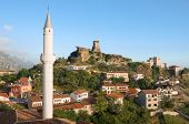 view of the minaret of the Kruja village, the Clock Tower and National Museum in Skanderbeg Castle,