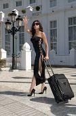 Fashion Woman Hailing Taxi