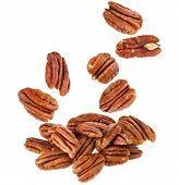 image of pecan  - Peeled pecan nuts close up - JPG