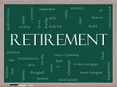 Retirement Word Cloud Concept On A Blackboard