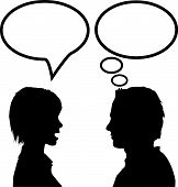 Speech & Talk Man & Woman Say Listen & Think