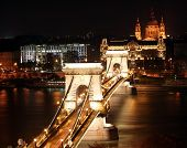 Chain Bridge and St. Stephen's Basilica at night.