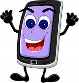 funny Smart phone cartoon with thumb up