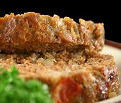 image of meatloaf  - Home style lamb meatloaf with salad ready to serve - JPG