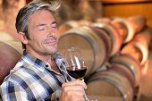 Enólogo disfrutando el aroma del vino tinto