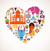 stock photo of sari  - Heart with India vector icons - JPG