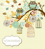 Owl autumn floral background. Owls out of their cages concept vector