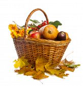 Basket With Fruit And Vegetables, Isolated