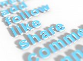 stock photo of common  - 3D keywords for Social Media common calls to action - JPG
