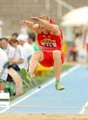 BARCELONA - JULY 10: Benjamin Gfohler of Switzerland during Long Jump Decathlon event of the 20th Wo