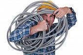 Man tangled in cable