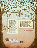 Fall Background Page, with text plates, framed by two strong healthy trees, with big trunks, autumn