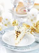 Traditional marchpane cream cake for Christmas