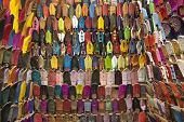 Moroccan slippers for sale in the souk of Marrakesh, Morocco, April 1, 2012