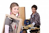 kids in a craftsman workshop