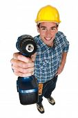 Tradesman holding a power tool