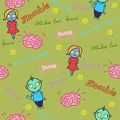 Funny seamless pattern with zombies and brain. Vector illustration