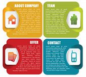 Vector abstract infographic labels with icons and a description for company
