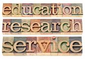 education, research and service words - possible university or college tagline or statement - isolat