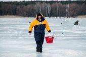 KHARKIV REGION UKRAINE - FEBRUARY 6: Eighth World Ice Fishing Championship on February 5-6 2011