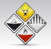 Set de peligro alrededor de señal de advertencia de la esquina