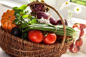Raw Vegetables In Wicker Basket