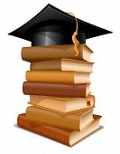 picture of convocation  - Big stack of books with graduation cap - JPG