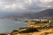 Panorama Of Hersonissos Town, Crete, Greece