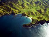 Wrinkled Green Coastline Of New Zealand