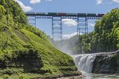 Railroad Trestle & Upper Falls At Letchworth State Park