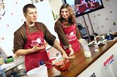 MOSCOW - DEC 1: Master class of cookery at sixth gastronomic festival Foodshow Christmas at Gostiny