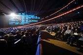 MOSCOW - OCTOBER 14: Spectators listen anniversary concert of Edita Piecha in Kremlin Palace, on Oct