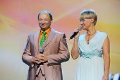 MOSCOW - OCTOBER 14: Ilona Bronevitskaya and Yuri Galtsev at anniversary concert of Edita Piecha in Kremlin Palace, on October 14, 2012 in Moscow, Russia. 6000 people came to concert of Edita Piecha.