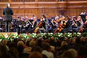 MOSCOW - OCT 4: Orchestra at Gala evening dedicated to 100th anniversary of All-Russian Museum Assoc