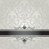 Luxury silver seamless floral wallpaper pattern book cover with black border. This image is a vector illustration.