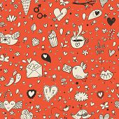 Tasty concept romantic wallpaper with birds, evelopes, cupcakes and coffee. Seamless pattern can be