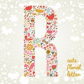 The letter R. Bright floral element of colorful alphabet made ??from birds, flowers, petals, hearts