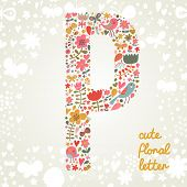 The letter P. Bright floral element of colorful alphabet made ??from birds, flowers, petals, hearts