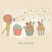Постер, плакат: С днем рождения карты Мультфильм праздник Обои с милый Лев и вкусные кексы в векторе Красочные